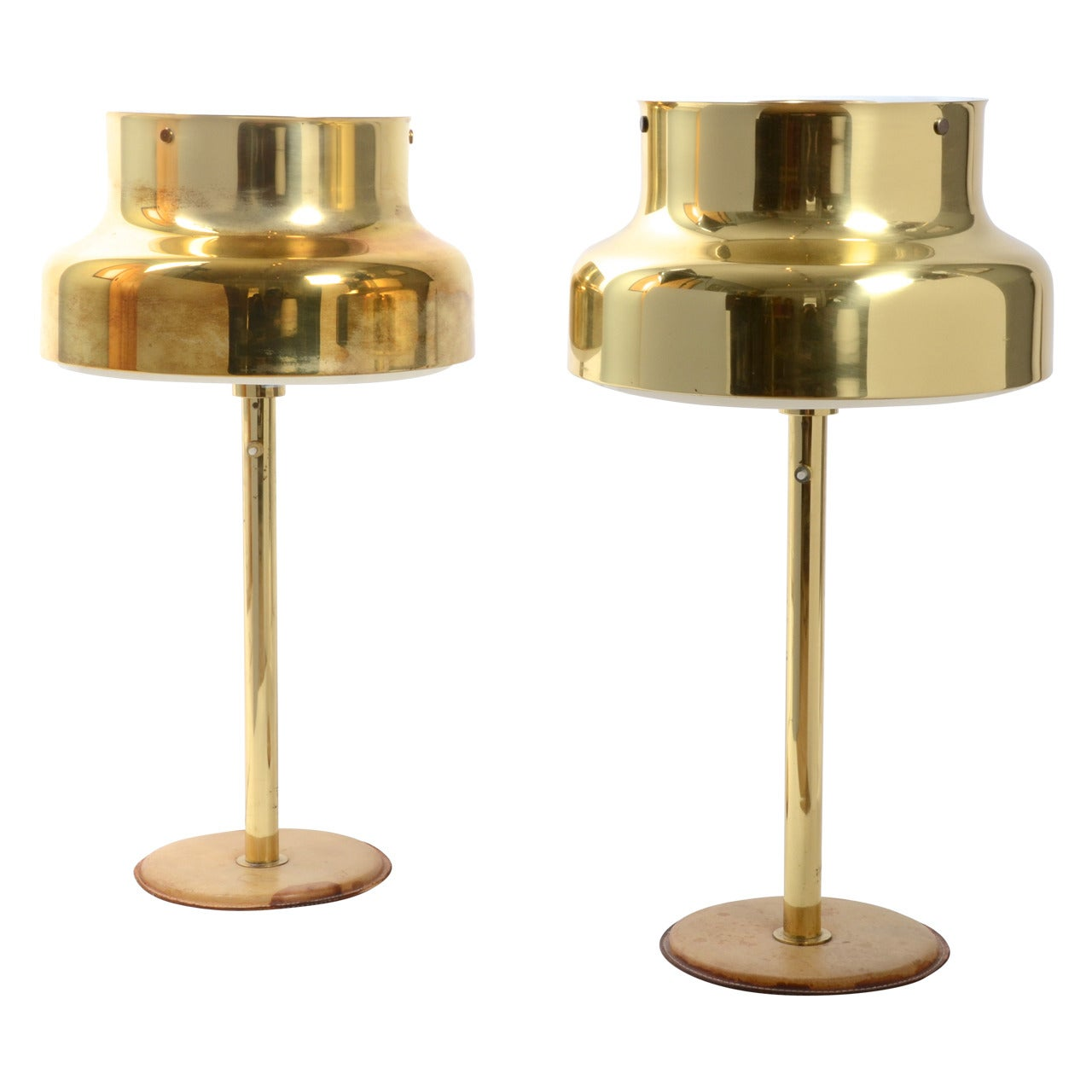 Table Lamps, Brass and Leather, Ateljé Lyktan, Sweden, 1960s