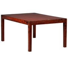 Red lacquer calligraphy table (dinning table / work table)