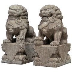 Pair of Large Stone Lions, 18th-19th Century