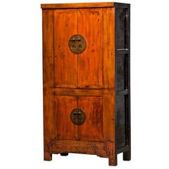 """Cabinet with a Beautiful Original """"Cognac"""" Lacquer Colour, Early 19th Century"""