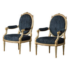 Pair of Elegant Armchairs, Louis XVI Style