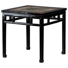 Beautiful Chinese Center Table in Black Lacquer, Rare Sandstone Plate