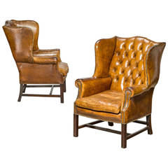 Pair of English Leather Wingback Chairs, circa 1950
