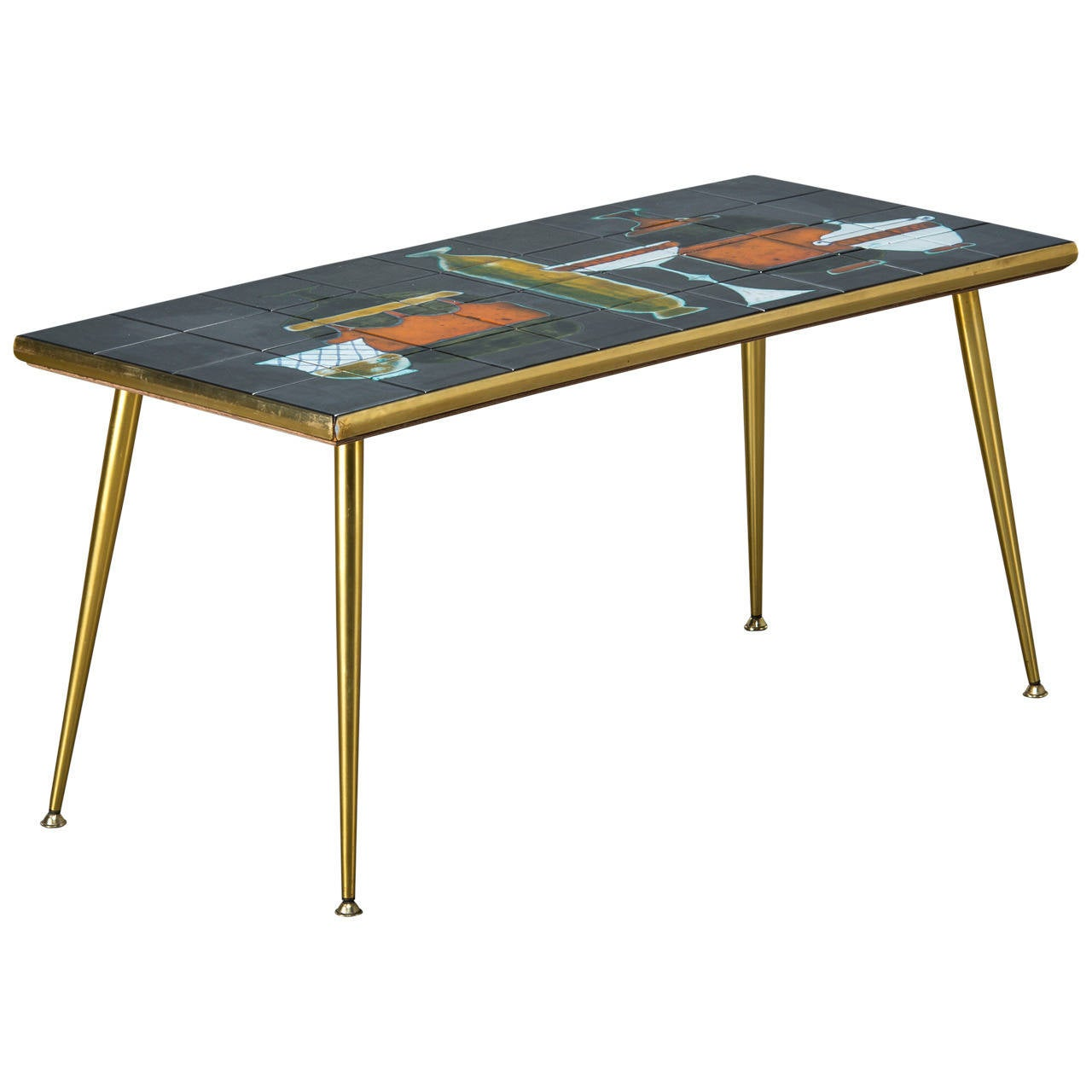 Italian Coffee Table Italian Coffee Table With Tile Table Top Mid 20th Century For
