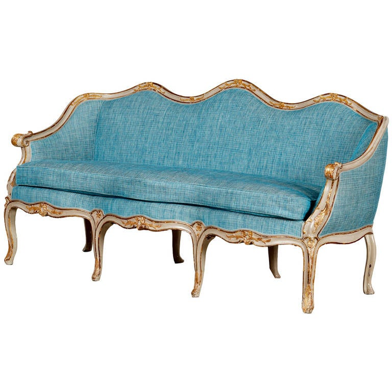Rococo Sofa With Color And Gold Leaf Gilding For Sale At
