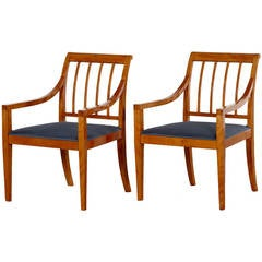 Pair of Fritz Henningsen Armchairs, Solid Birch, 1930-1950