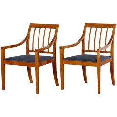 Pair of Fritz Henningsen Armchairs, Solid Birch, 1930-1950