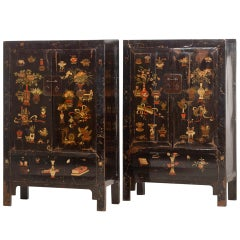 Chinese Cabinets with Original Decoration