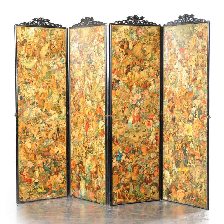 Four-fold Screen with Decoupage Decoration 2