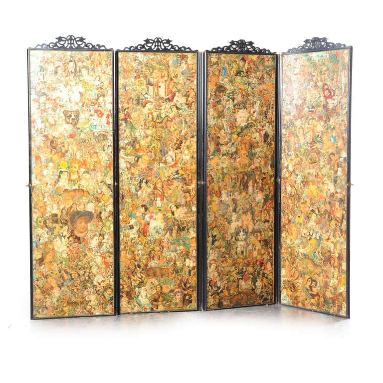 Four-fold Screen with Decoupage Decoration 5