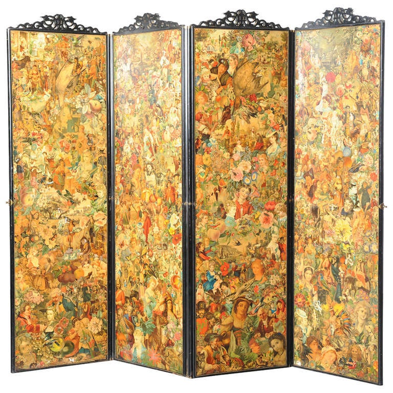 Four-fold Screen with Decoupage Decoration 1