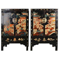 Pair of Very Unusual and Rare 18th Century Chinese Qing Dynasty Cabinets