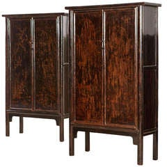 Cabinets from Ming Dynasty China 18th Century Black Burgundy Lacquer Patina