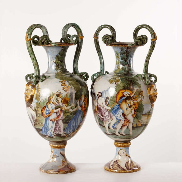 Pair Of Large Handdecorated Italian Vases At 1stdibs