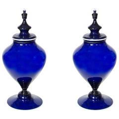 Pair of Norwegian Cobalt Blue Potpourri Urns
