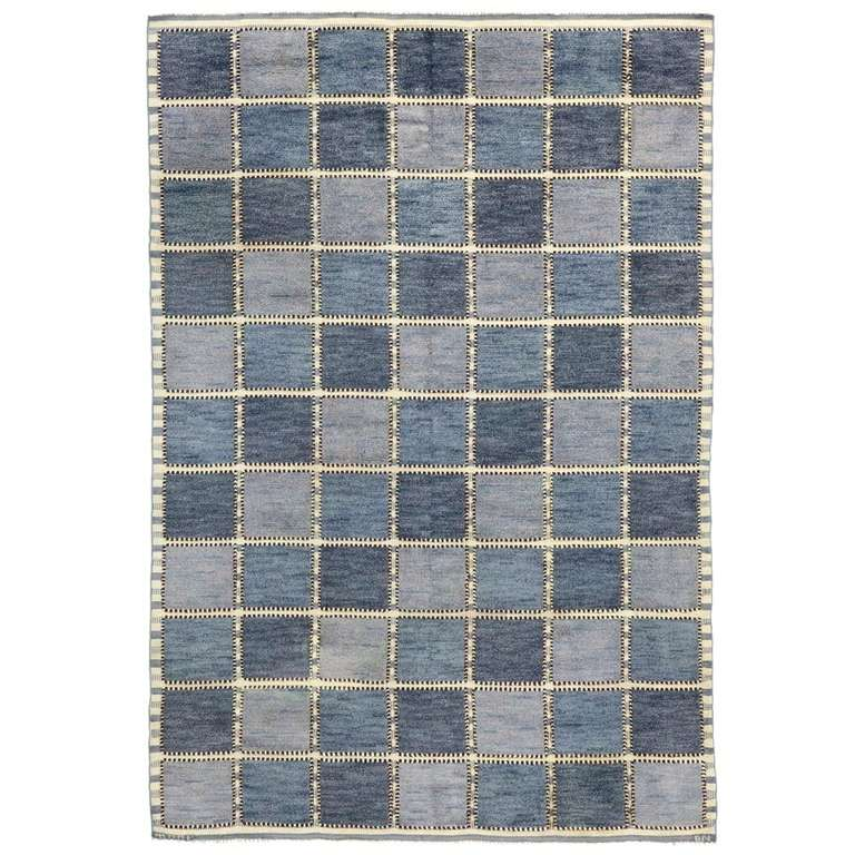 Blue And White Scandinavian Rug: Golden Square Blue At 1stdibs