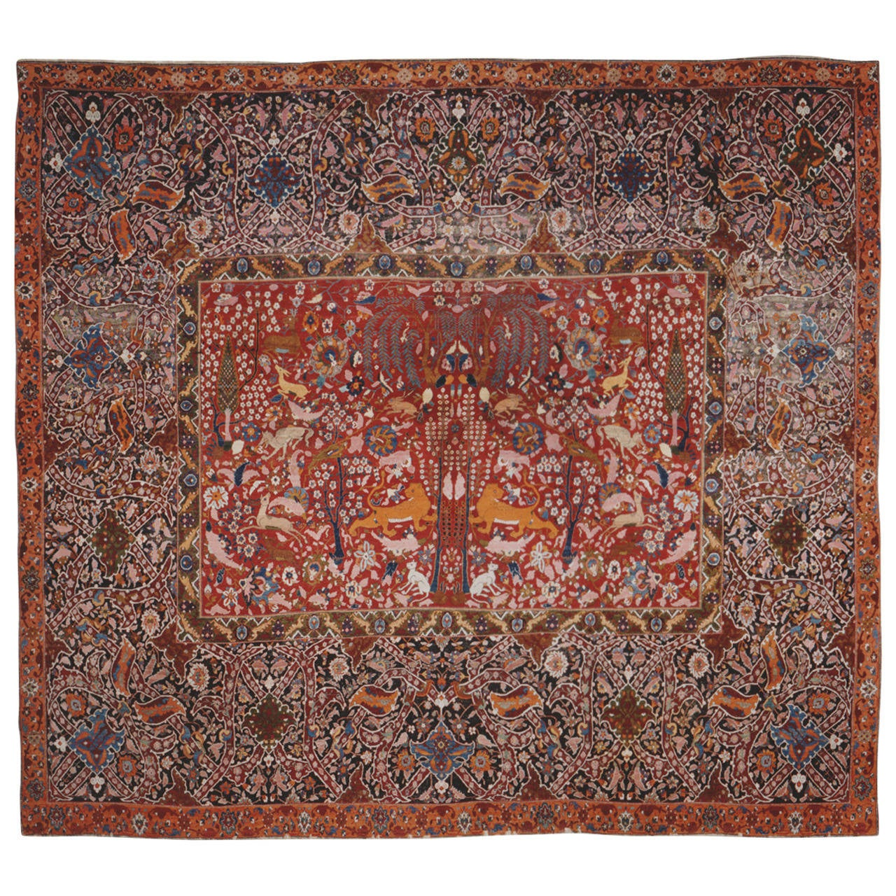 Lahore Hunting Carpet Mid 18th C Or Mid 19th C At 1stdibs