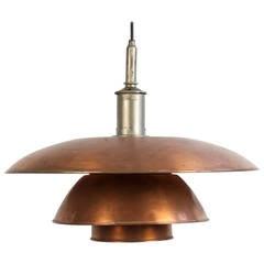 "Large Poul Henningsen 5/5 Copper Pendant, Stamped ""Pat. Appl."""