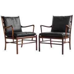 Pair of Rosewood Colonial Chairs, Ole Wanscher