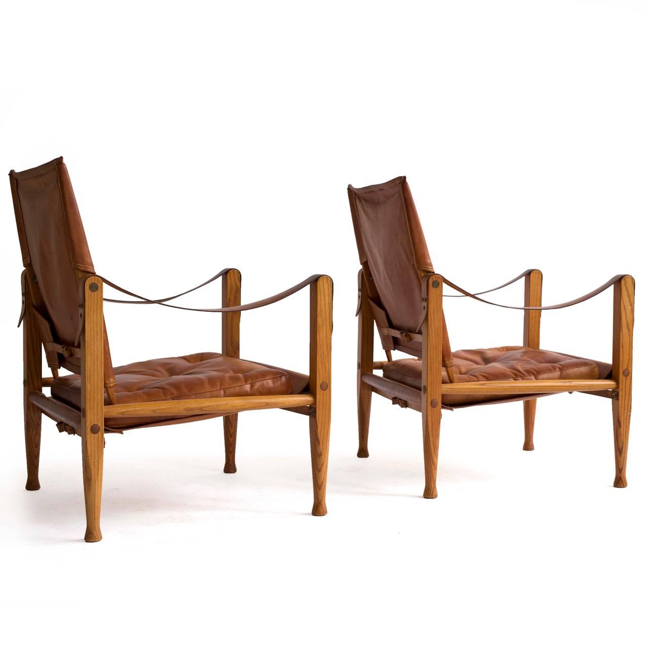 Leather Kaare Klint Pair of 'Safari Chairs' for Rud. Rasmussen