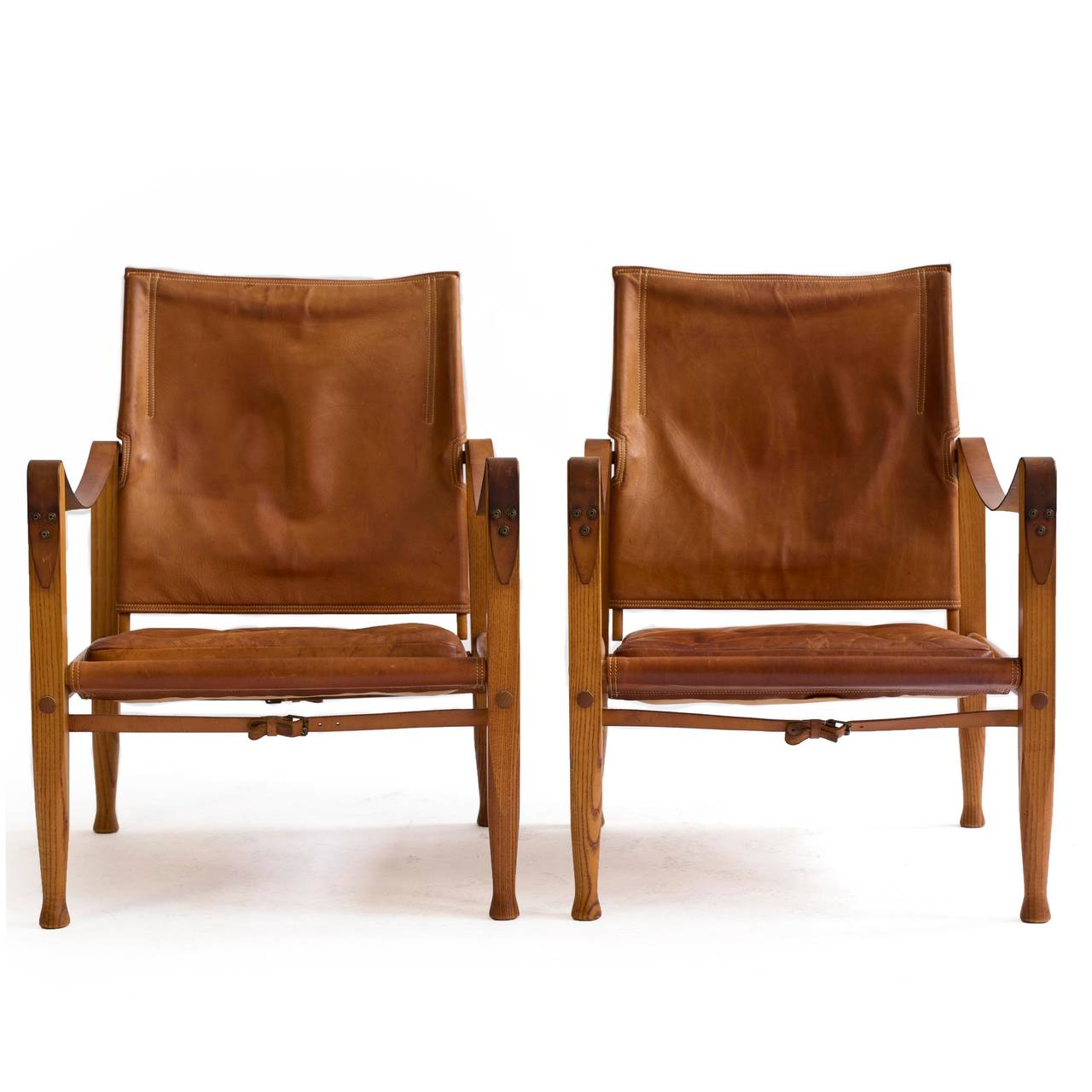 Kaare Klint Pair of 'Safari Chairs' for Rud. Rasmussen In Excellent Condition In Copenhagen, DK