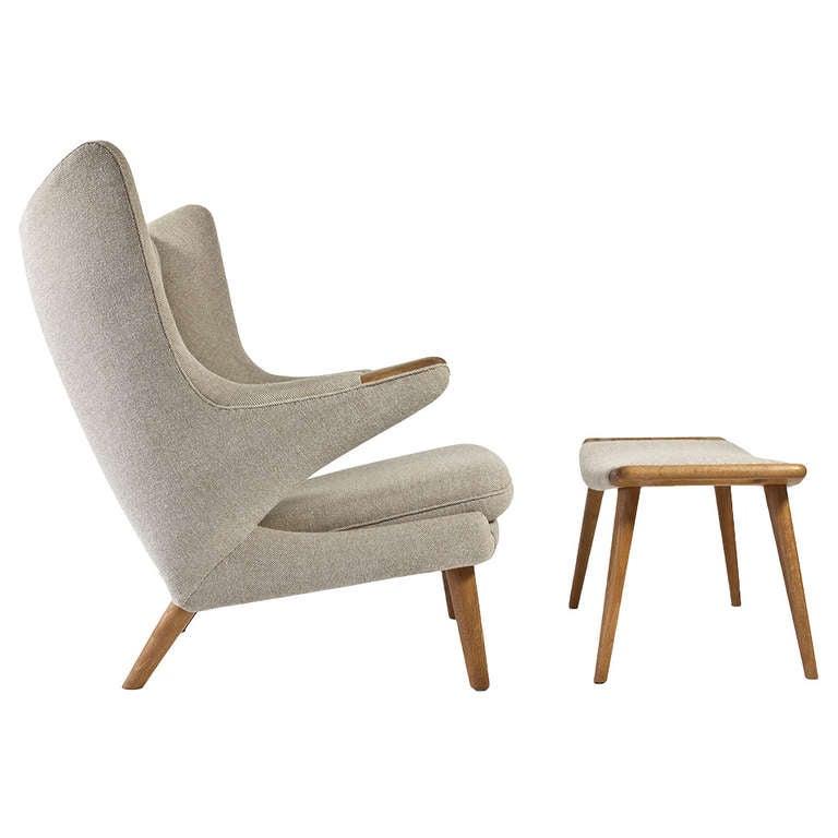 hans j wegner papa bear with stool ap stolen at 1stdibs. Black Bedroom Furniture Sets. Home Design Ideas