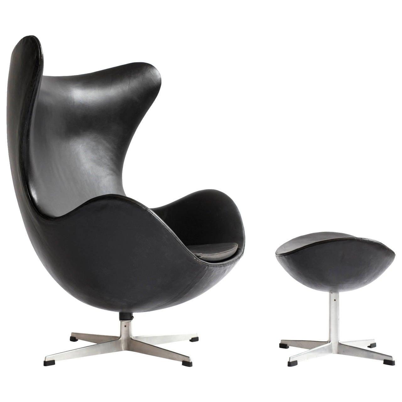 arne jacobsen egg chair with stool at 1stdibs. Black Bedroom Furniture Sets. Home Design Ideas