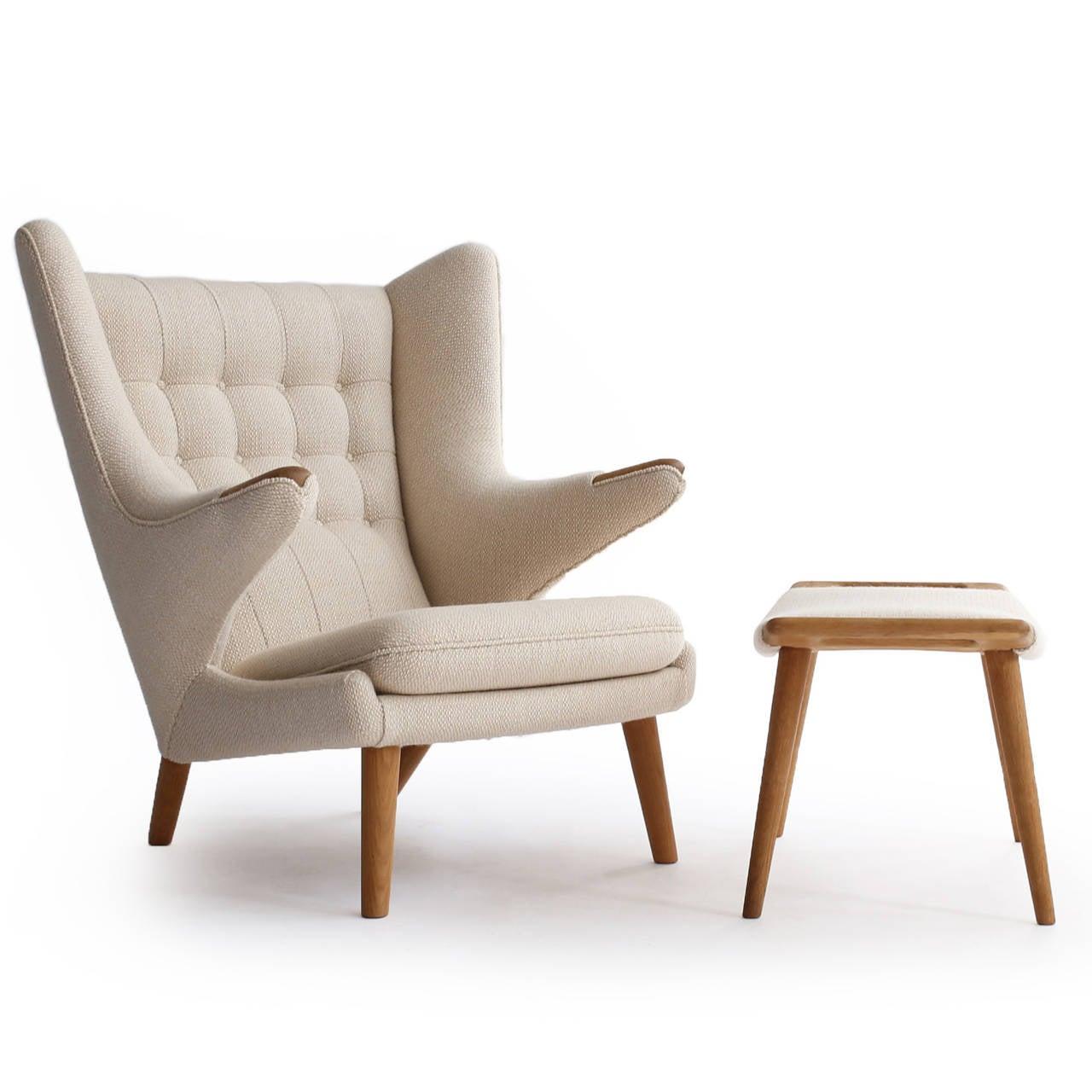 Astonishing Vintage Hans J Wegner Papa Bear Chair With Stool At 1Stdibs Ibusinesslaw Wood Chair Design Ideas Ibusinesslaworg