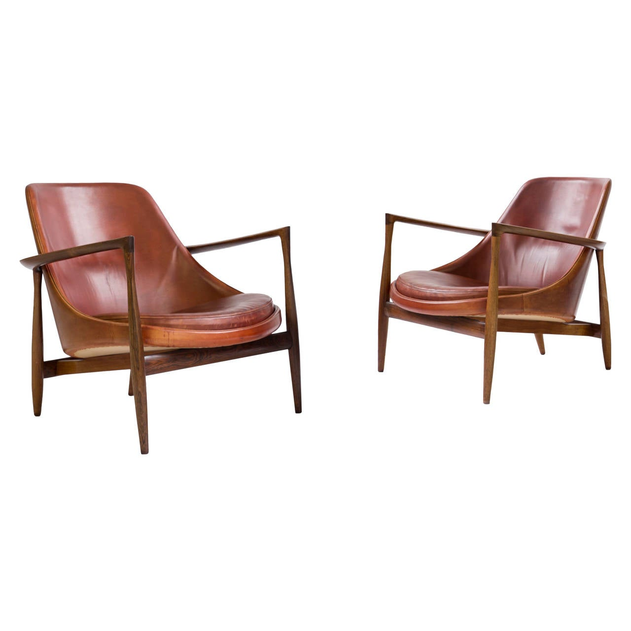 This sculptural pair of lounge chairs by ib kofod larsen is no longer - Pair Of Ib Kofod Larsen Rosewood Elizabeth Chairs For Christensen And Larsen 1