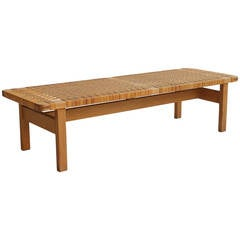 Børge Mogensen Oak and Woven Cane Bench