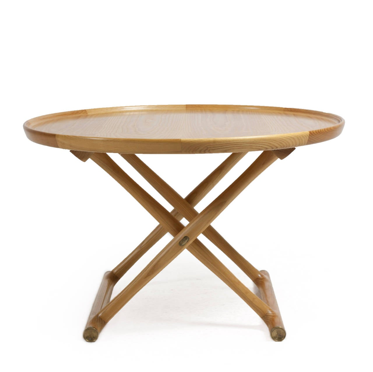 A rarely seen circular ash Egyptian table with brass fittings.   Designed by Mogens Lassen, 1940 and manufactured by cabinetmaker A. J. Iversen, Denmark.   Diameter:85 cm.  Very fine condition.