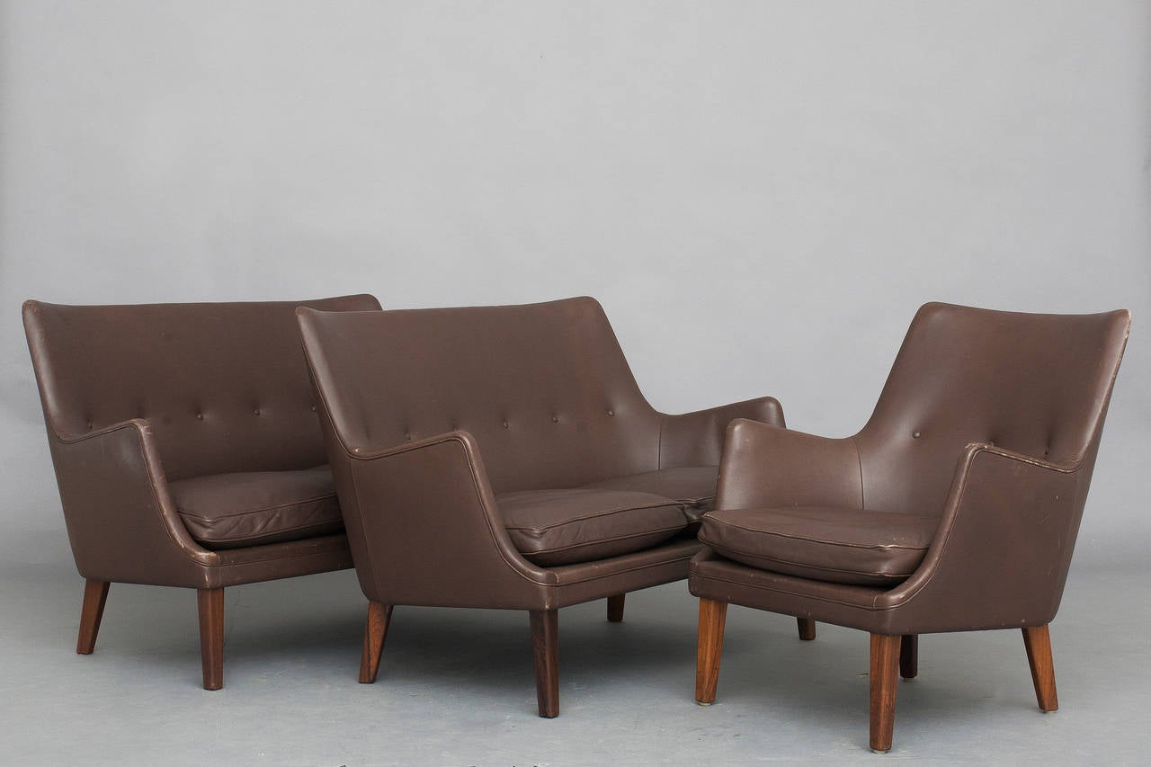 Mid-Century Modern Pair of Sofas and Lounge Chair by Arne Vodder for Ivan Schlechter