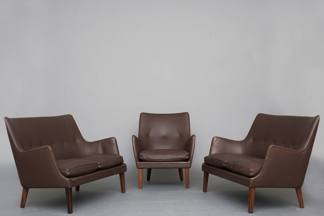 Pair Of Sofas And Lounge Chair By Arne Vodder For Ivan Schlechter 2