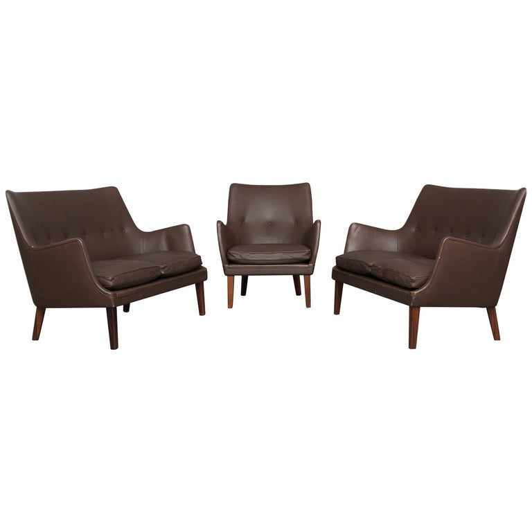 Pair of Sofas and Lounge Chair by Arne Vodder for Ivan Schlechter