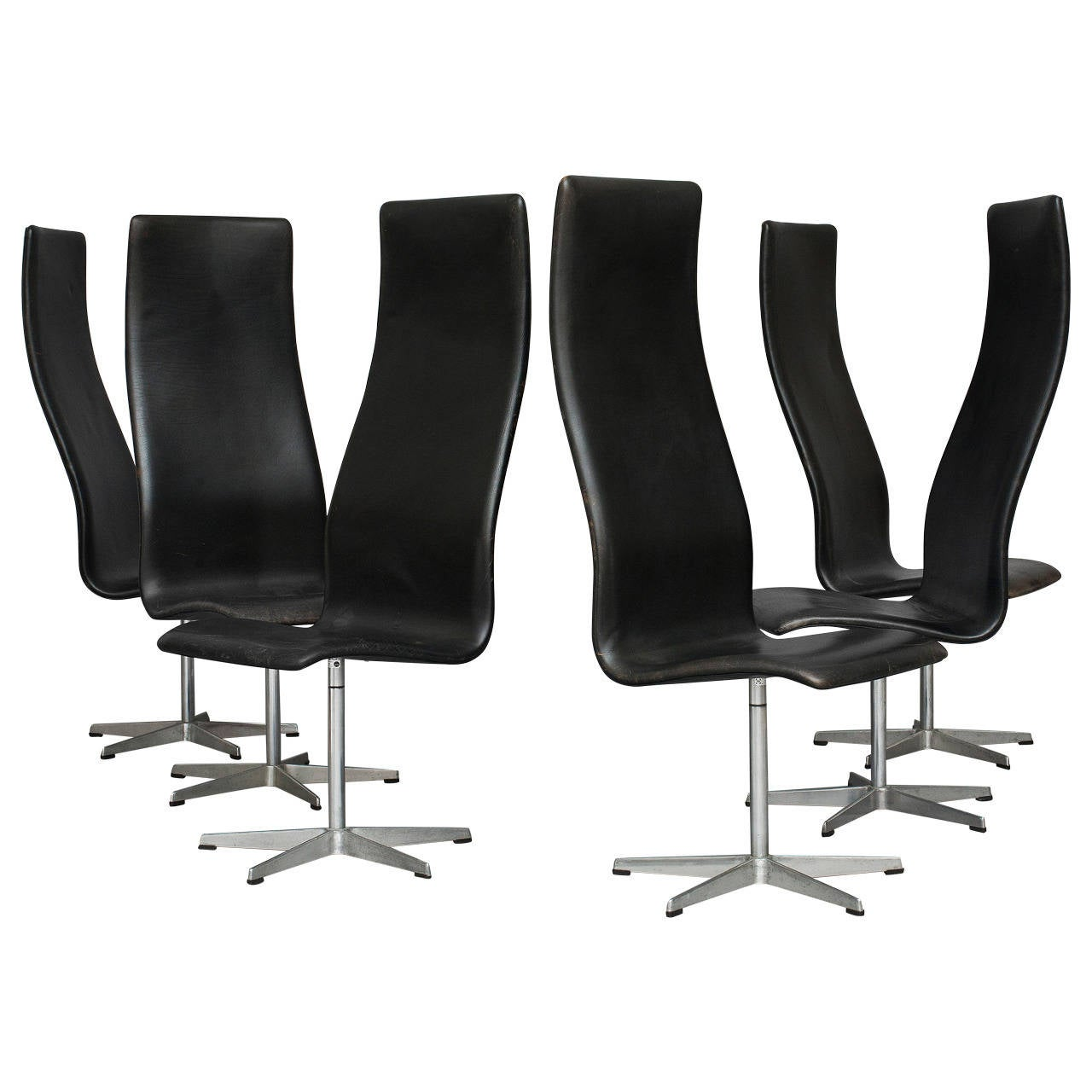 set of six oxford chairs by arne jacobsen for fritz hansen for sale at 1stdibs. Black Bedroom Furniture Sets. Home Design Ideas