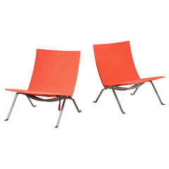 Pair of PK-22 Lounge chairs by Poul Kjaerholm for Fritz Hansen