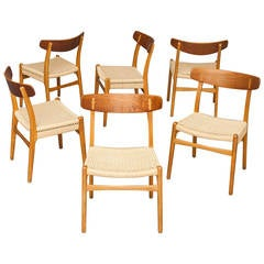 Set of Six Chairs by Hans J. Wegner for Carl Hansen & Son