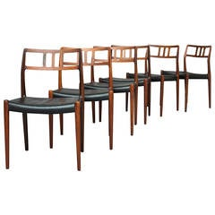 Set of Six Chairs by N.O. Moller for JL Moller