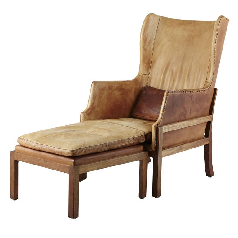 Mogens Koch MK 50 Wingback Chair and Ottoman at 1stdibs