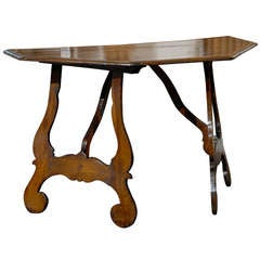 Italian 19th Century Walnut Demilune Console Table with Lyre Shaped Legs