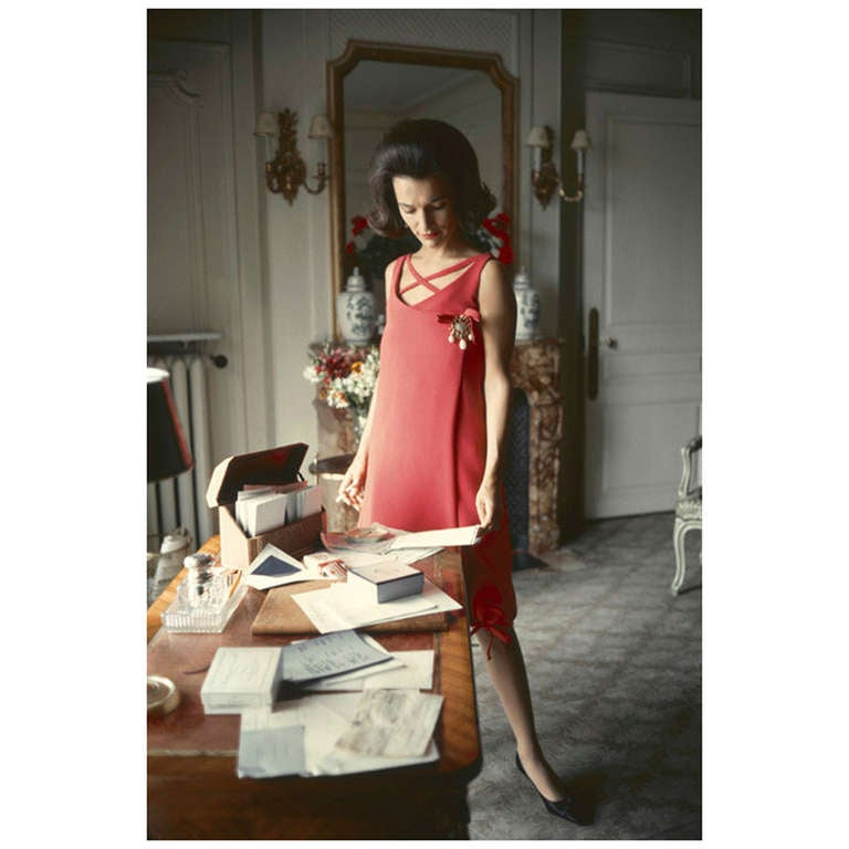Mark Shaw Editioned Photograph-Lee Radziwill in Dior Coral Dress, 1960