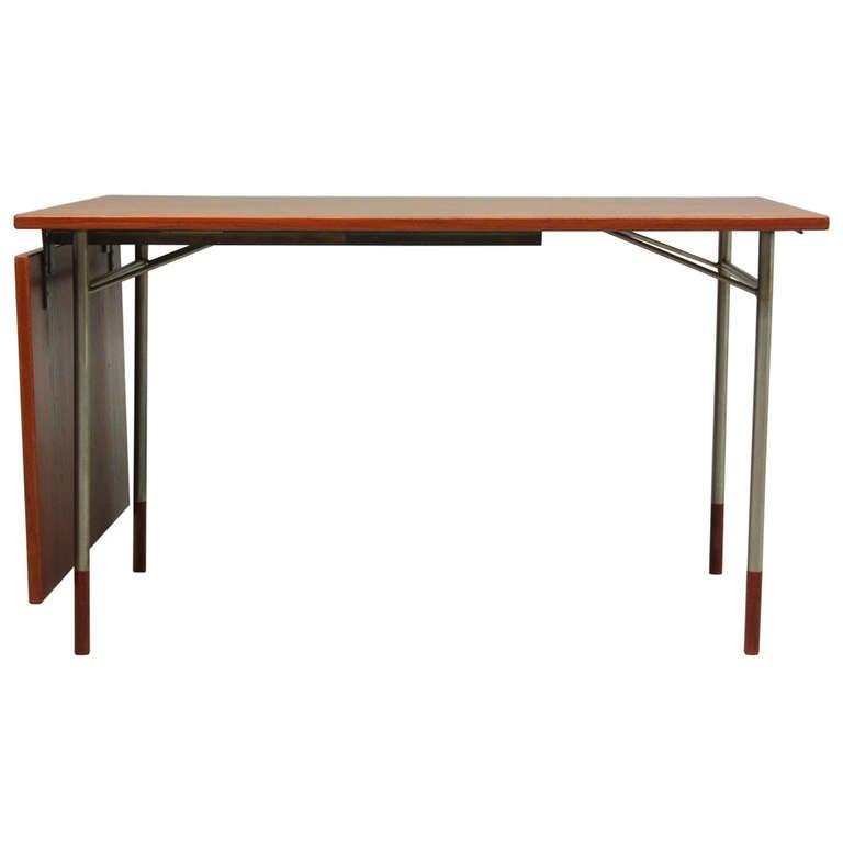 20th century scandinavian design desk in teak and metal by finn juhl at 1stdibs. Black Bedroom Furniture Sets. Home Design Ideas
