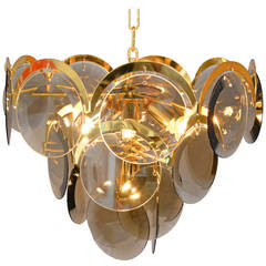 Ceiling Lamp Brass and Glass, Italy, 1960s-1970s