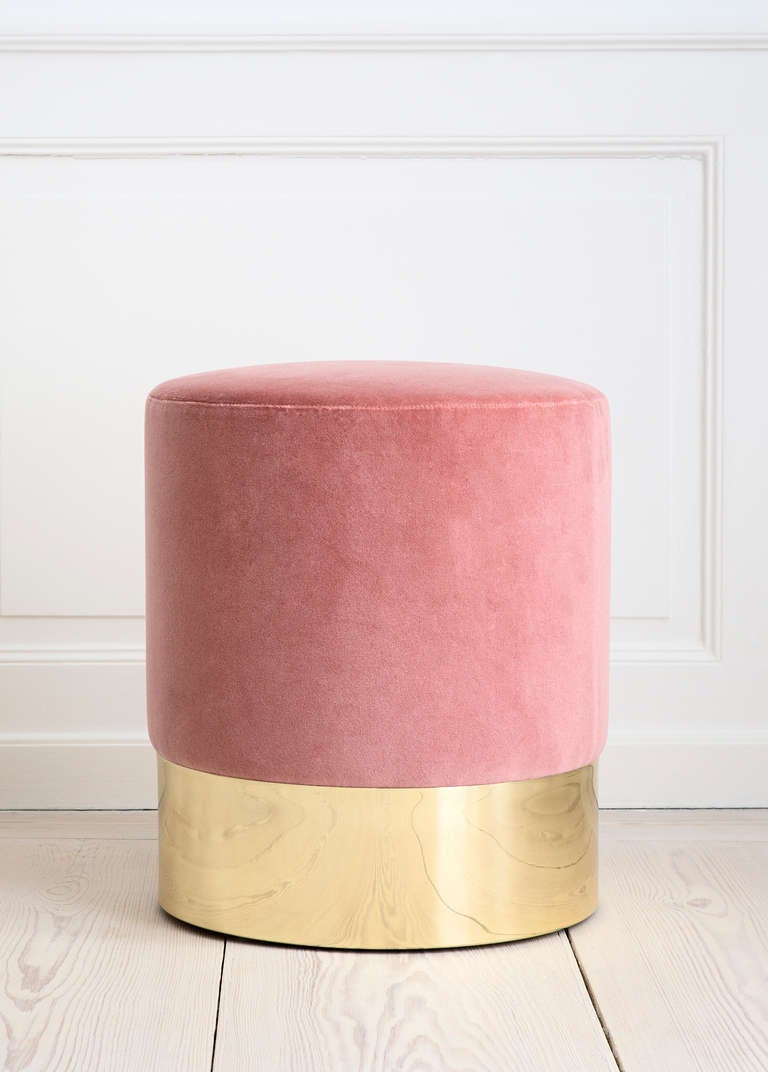 Azucena stool upholstered in velvet textile for The Apartment. Brass base. Designed by Luigi Caccia Dominioni in 1963. Contemporary production by Azucena.