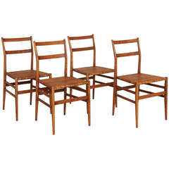 Four Gio Ponti Superleggera Dining Chairs in Ash Wood and Cane