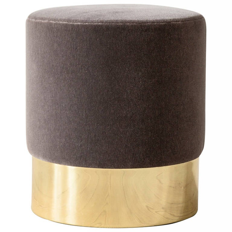 Azucena Stool In Velvet And Brass At 1stdibs