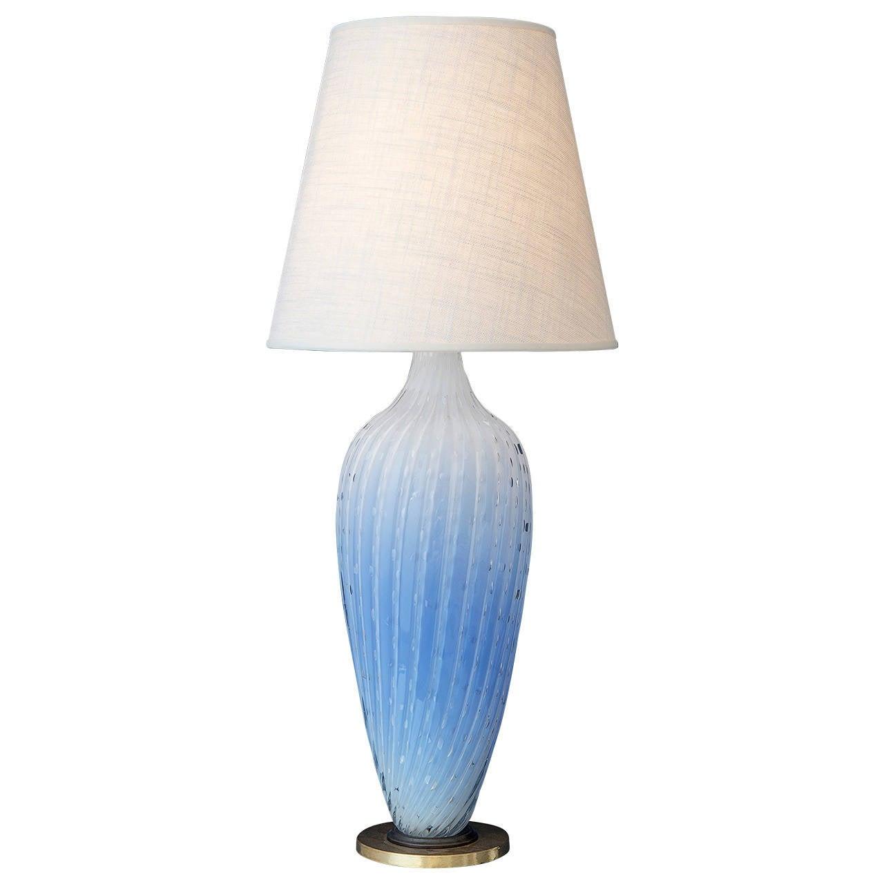 Blue glass table lamp base - Vintage Italian Murano Glass Table Lamp At 1stdibs