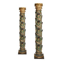 Pair of Column's, early 18th century, wood carved and polychromed