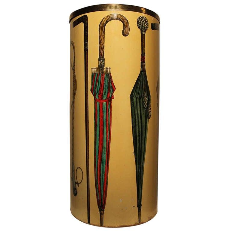 Umbrella Stand In Hand Painted Masonite circa 1950