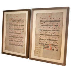 16th century pair of parchments with oak frames